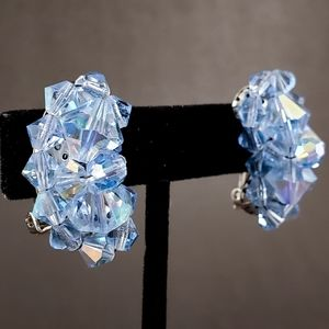 VINTAGE Blue AB Sparkly Crystal Faceted Earring